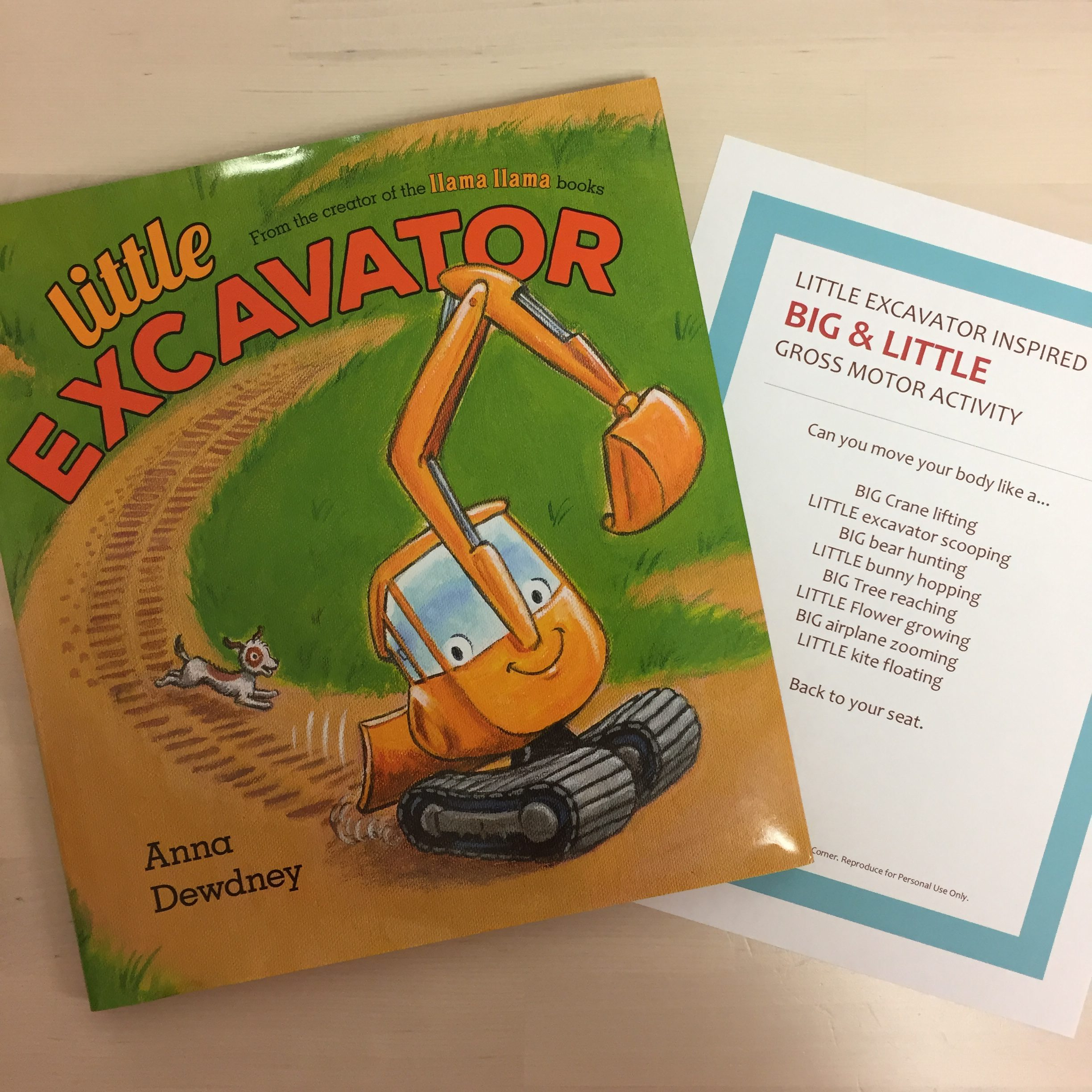Big and Little Storytime inspired by Little Excavator with FREE Printable